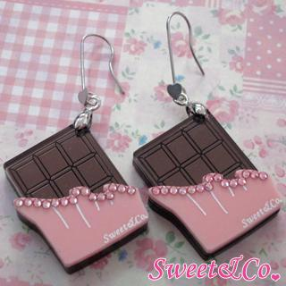 Sweet Pink Swarovski Crystal Choco Bar Dangle Earrings Silver - One Size