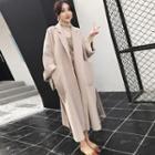 Long-sleeve Plain Long Coat