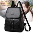 Faux Leather Flap Backpack Black - One Size