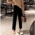 Buttoned Cropped Knit Pants