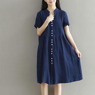 Short Sleeve Button-front Linen Cotton Dress