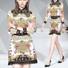 Set: Printed Shirt + Fringed Hem A-line Skirt
