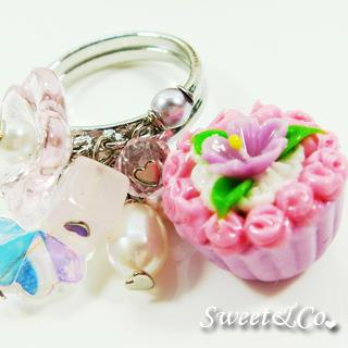 Sweet Floral Purple Cupcake Pearl Silver Ring
