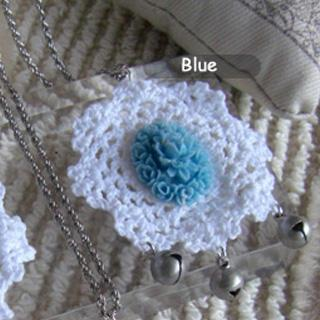 Blue Vintage Flower Lace Necklace
