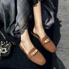 Buckled Genuine Leather Slide Loafers