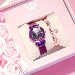 Roman Numeral Diamond-cut Milanese Strap Watch
