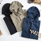 Buttoned Hooded Linen Jacket