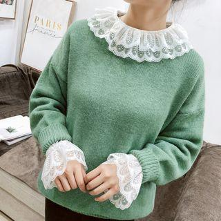 Layered Collar Lace Long-sleeve Top