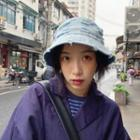 Distressed Denim Bucket Hat As Shown In Figure - One Size