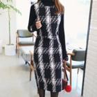 Set: Sleeveless Plaid Tweed Top + Pencil Skirt
