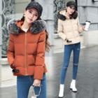 Furry Trim Hooded Padded Zip Jacket
