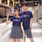Couple Matching Lettering T-shirt / Striped Mini Skirt / Shorts / Set