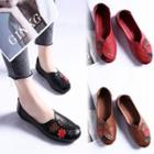 Faux Leather Embroidered Flats