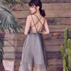 Strappy Open-back Midi A-line Dress