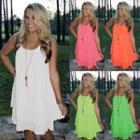 Ruffle Plain Chiffon Dress