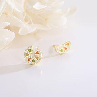 Non-matching Orange Ear Stud Es1360 - Gold - One Size