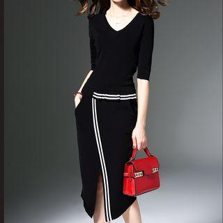 Contrast Stripe Knit Sheath Dress