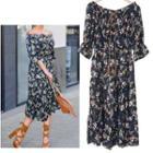 Floral Print Off-shoulder Midi Chiffon Dress