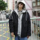 Loose-fit Mock Two-piece Hooded Padded Coat
