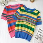 Striped Short-sleeve Pointelle Knit Top