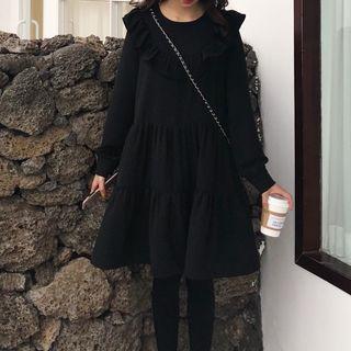 Long-sleeve Ruffle-trim A-line Tiered Dress Black - One Size