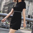 Plain Short Sleeve Cut Out Detail Dress