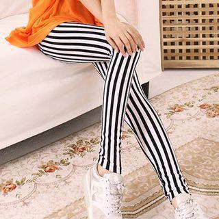 Striped Skinny Pants Stripes - Black & White - One Size