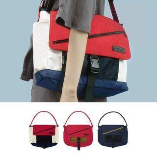 Buckled Color Panel Nylon Messenger Bag