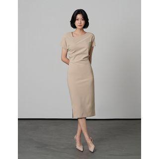 Asymmetric-neck Long H-line Dress
