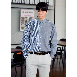 Asymmetric-panel Stripe Shirt In 4 Colors