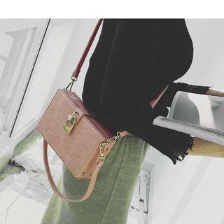 Embossed Faux Leather Shoulder Box Bag