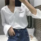 Lettering Chiffon Shirt