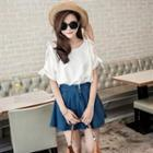 Lace-panel Tunic White - One Size
