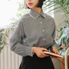 Long-sleeve Lace-trim Check Shirt