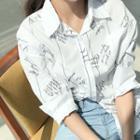 Pocket-detail Lettering Shirt