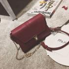 Chain Strap Faux Leather Crossbody Bag