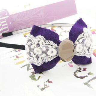 Flannelette Bow Hair Hoop -purple Purple - One Size