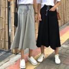 Drawcord A-line Midi Slit Skirt