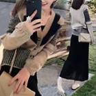 Set: Pattern V-neck Cardigan + A-line Maxi Knit Skirt