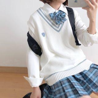 Plaid A-line Skirt / Tie / Bow Tie