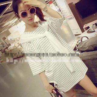 3/4-sleeve Mock Two Piece Striped T-shirt Dress