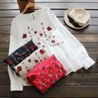 Long-sleeve Embroidery Ruffle Blouse