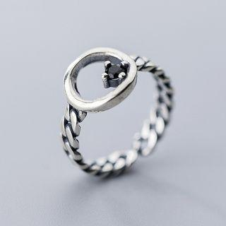 925 Sterling Silver Hoop Chained Open Ring Ring - One Size