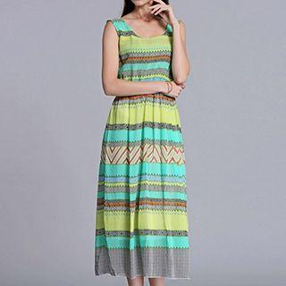 Patterned Sleeveless Midi Dress