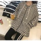 Striped Front Zip Hooded Jacket