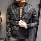 Faux Leather Buttoned Padded Jacket