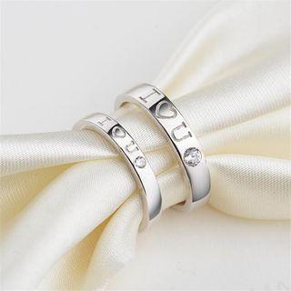 925 Sterling Silver Rhinestone Lettering Open Ring