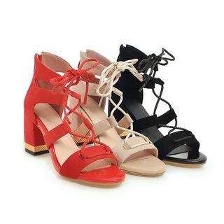 Genuine Leather Lace-up Chunky-heel Sandals