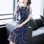 Sleeveless Floral Print Chiffon A-line Midi Dress
