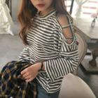 Loose-fit Off-shoulder Long-sleeve Striped T-shirt
